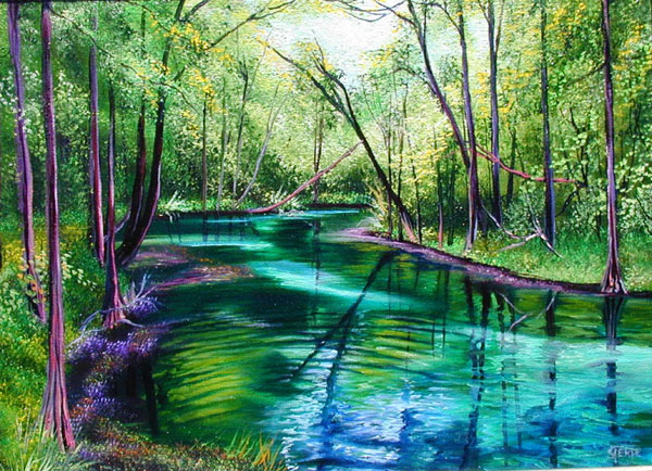 paintings of dogwood spring at ginnie springs florida